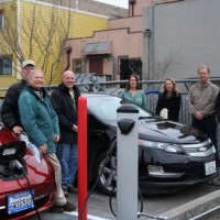 OurEvolution staff, City of Arcata officials and local electric vehicle owners celebrate the opening of Arcata's first Level II EV charging station.