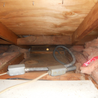 Impacted attic insulation noted in bunkhouse.