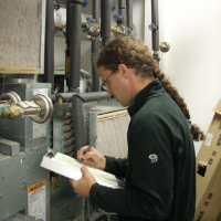 OurEvolution engineer documents process load information at the St. Michael Water Treatment Plant.