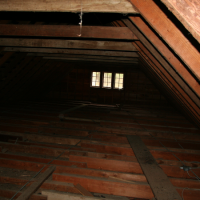 Attic inspection at the Wind River Bunkhouse