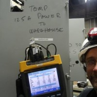 OE engineer, Scott Willits, measures 3-phase power.